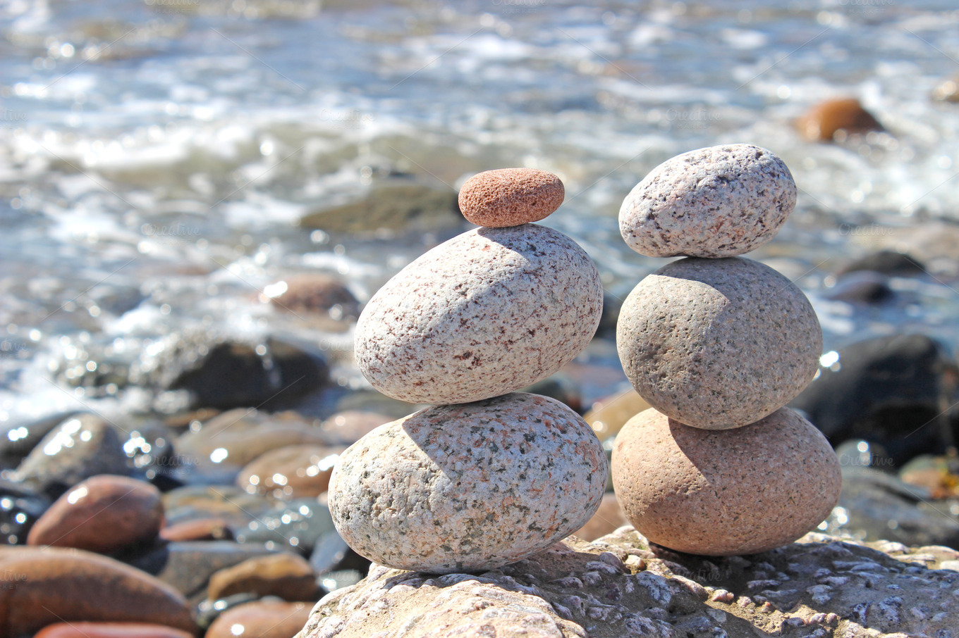 stacked stones on the beach